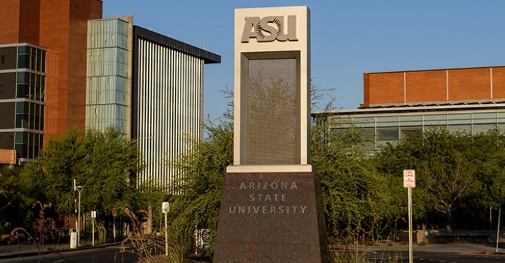 ASU monument sign on Tempe campus