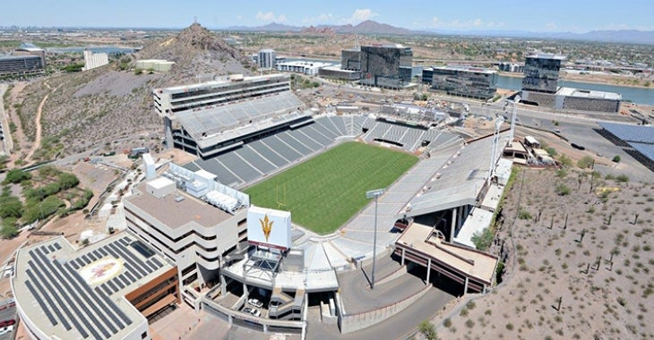 Top view photo of the Sun Devil Stadium on Phase 2 renovation